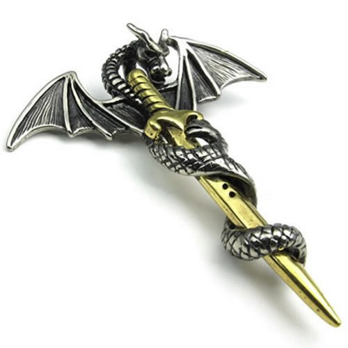 22″ KONOV Jewelry Stainless Steel Tribe Gothic Dragon Sword Pendant Biker Mens Necklace, 22″ Chain