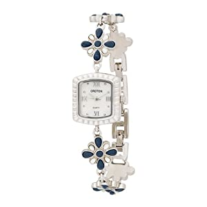 Croton Women's CR207825BLMP Flower Design Stone Watch