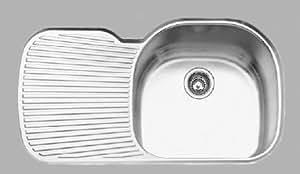 Oliveri Stainless Steel Sinks : Oliveri 882-U Stainless Steel Sink, Single Basin with Drainboard Left ...