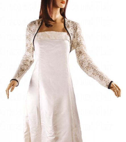 Grace and Flair Ivory Corded Lace Long SleeveBolero Shrug