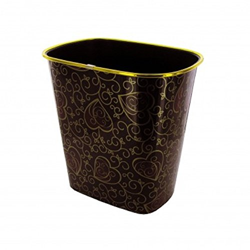 New red trash can with gold trim fancy waste basket ebay for Gold bathroom wastebasket