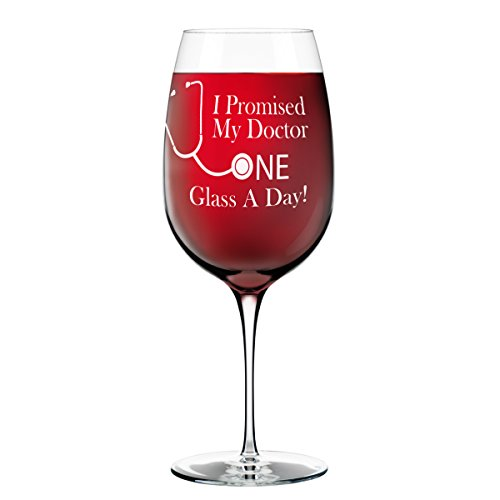 I Promised My Doctor One Glass A Day XL Funny Wine Glass - Oversized 26 oz. Novelty, Gag Gift for Women, Friends - Made in USA (Please Make Me Lesbian compare prices)