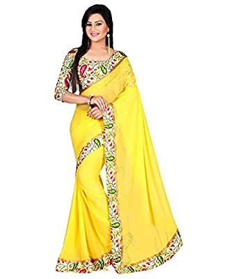 Pari&Pari Women's Chiffon Saree (Pari70_Yellow)