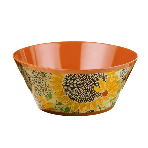 Grasslands Road Melamine Farm Fresh Floral Salad Bowl, 13-Inch