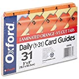 Oxford Daily (1-31)  Manila Index Card Guides With Laminated Tabs, 5 x 8 Inches, 1/5 Cut Orange Tab, 31 per Set (05832)