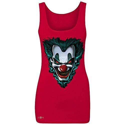 [Freakshow Joker Clown Scary Women's Tank Top Halloween Eve Costume Sleeveless Red Large] (Amusement Clown Costume)