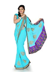 Designersareez Women Chiffon Embroidered Aqua Blue Saree With Unstitched Blouse(1216)