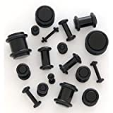 Taper Kit with Plugs Black Taper Stretching Kit 14G-0G with Black Acrylic Plug Kit 10G-00G 30 Pieces