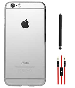 DMG Ultra Thin Transparent Crystal Clear Slim TPU Back Cover for Apple iPhone 6 4.7in (White) + AUX Cable + Stylus