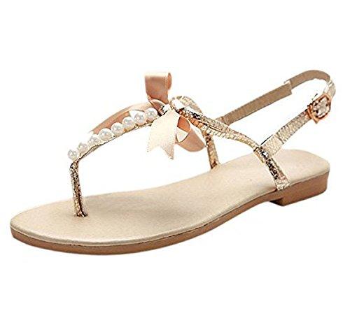 Minetom Donne Ragazze Estate Sandali Dolce Stile Spiaggia Scarpe Perline-Strap Peep Toe Pantofole Con Bowknot Oro 35