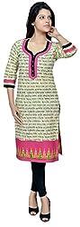 Devansh Women's Free Size Grey & Pink Printed Long Stitched Cotton Kurtis