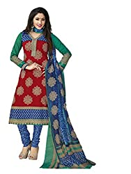 AMP IMPEX EthnicwearWomen's Dress Material(KOMALSPL6007_Red_Free Size)