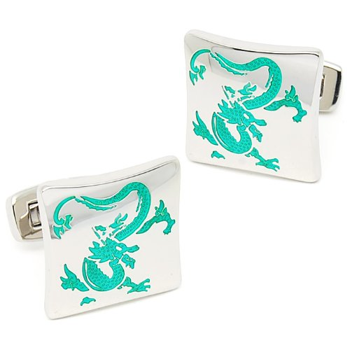 Beour White-gold-plated-silver Classic Green Printing Oriental Dragon Square Cufflinks
