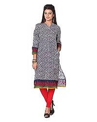 Namah Women's Cotton Regular Fit Kurti (D106-XL , Multi-Colour, XL)