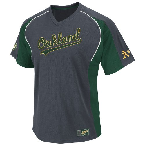 MLB Oakland A's Cleanup Hitter V-Neck Top, Granite/Green/White, X-Large