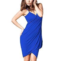 Glamorous Open Back, Blue Bikini Cover Up Wrap Dress