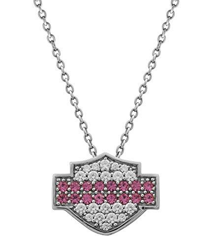 Harley-Davidson® MOD® Women's Pink & White Bling Bar & Shield Necklace HDN0298