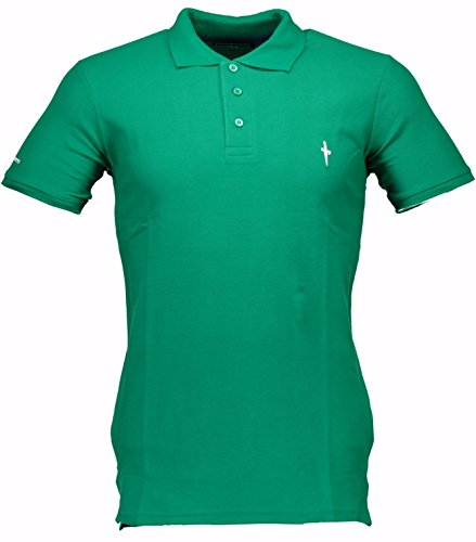Polo Cesare Paciotti Uomo Men t-shirt 100% Italy Fashion Piquet Stone Washed Vintage-Verde-L