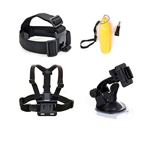 Masione™ 4-In-1 Accessories Kit For Gopro Hd Hero 3+/3/2/1 Camera:Gopro Head Strap Mount+ Chest Belt/Strap Harness Mount + Gopro Suction Cup Mount Accessory + Floating Handle Grip Pole