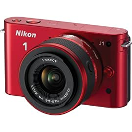 Nikon 1 J1 Mirrorless Digital Camera with 10-30 mm VR Zoom Lens (Red)