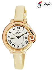 Style Feathers Designer Round Analogue White Dial Women's Watch - SDCTRDC001