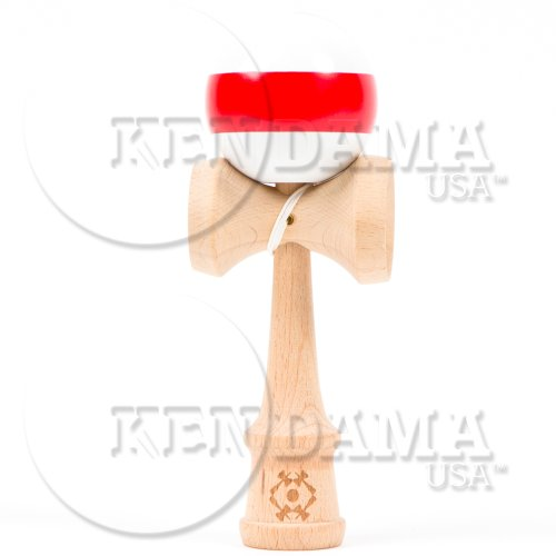 USA Kendama Tribute - Wooden Skill Toy- White with Red Stripe