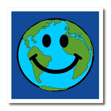 Ht_76666_2 Inspirationzstore Smiley Face Collection - Planet Earth Smiley Face - Happy World Globe Earth Day - Smilie For Peace Eco Friendly Green Symbol - Iron On Heat Transfers - 6X6 Iron On Heat Transfer For White Material front-390575