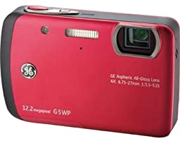 GE G5WP 12MP Waterproof Digital Camera with 4X Optical Zoom and 2.7-Inch LCD with Auto Brightness (Raspberry Red)