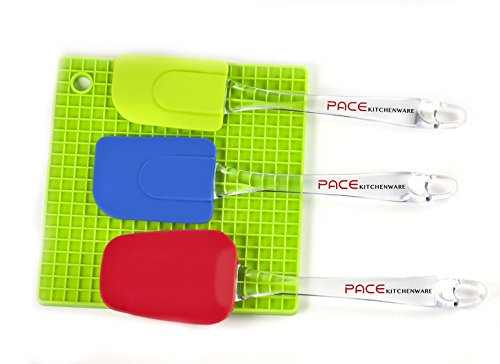 Pace Kitchenware Silicone Spatula Set - Bonus Pot Holder - Colorful Premium 3 Piece Set - Heat Resistant - Food Safe - Easy To Clean - Non Stick - Comfortable Grip - 100% Money Back Guarantee front-87787