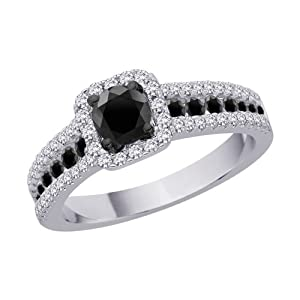 10K White Gold, Black and White Diamond Bridal Engagement Ring (1 cttw) from Katarina