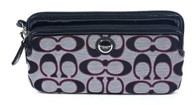 Coach Signature Poppy Metallic Double Zip Wallet Moonlight Scarlet Pink