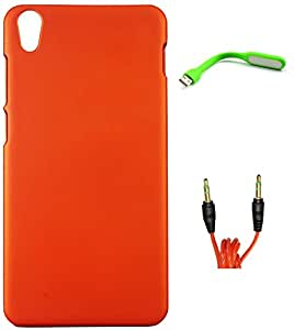 FCS Rubberised Hard Back Case For Lenovo S850 With USB LED Lamp And 3.5mm 1 Meter AUX Cable