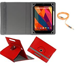Gadget Decor (TM) PU LEATHER Rotating 360° Flip Case Cover With Stand For Lava E-Tab Velo+ Tablet  + Free Aux Cable -Red