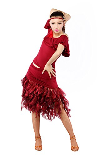 Msmushroom Micrifiber Hollow-out Dance Costume For Women Wine/Red Size S/M/L/XL/XXL
