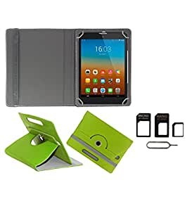 Gadget Decor (TM) PU Leather Rotating 360° Flip Case Cover With Stand For Datawind 3D7+ + Free Sim Adapter Kit - Green