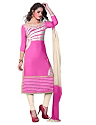 Women's Light Pink & Cream Embroidered Cotton Semi Stitched Salwar Suit