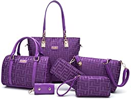 Itscosy Clutch Handbags for Women Bags for Ladies Handbag and Purse Shoulder Bags+crossbody Bags+wallet+purse+keychian 6 Piece Set Bag (Model 6-purple)