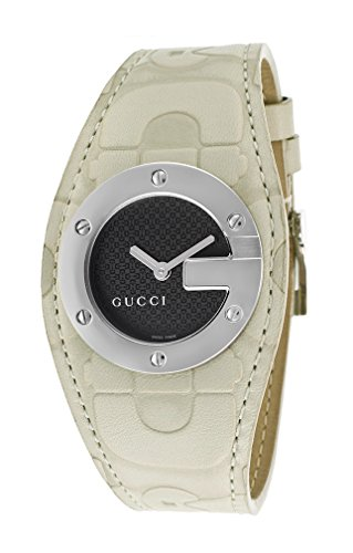 Gucci 104 Stainless Steel Womens Fashion Watch White/Stone Strap Black Dial YA104521