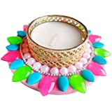 Designer Beautiful Diyas In Neon Colours Pack Of 2(can Float Also)
