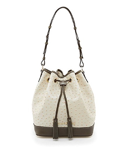 Dooney & Bourke Ostrich Embossed Drawstring Bag (Pearl/Grey)