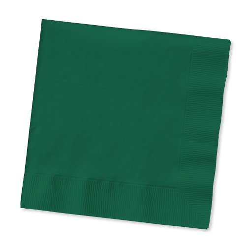 Creative Converting Touch of Color 200 Count 2-Ply Paper Beverage Napkins, Hunter Green - 1