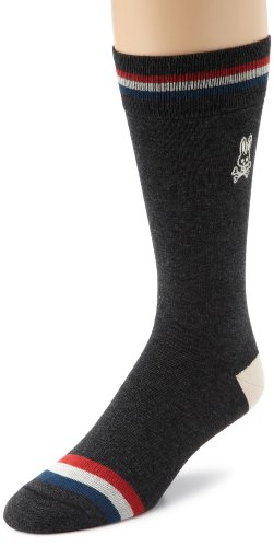 Psycho Bunny Men's Three Stripes Sport Sock, Charcoal, One Size