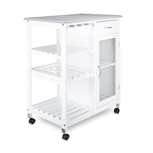 Relaxdays Carrello da Cucina/Per Cucina, Bianco, 88 x 76 x 48 cm