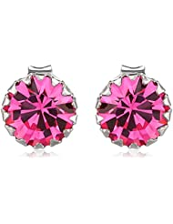 Om Jewells Sterling Silver Pink Fuschia Magic Earrings With CZ Stones ER7000122