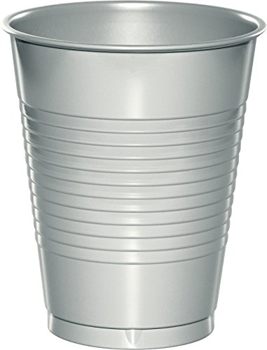 Creative Converting 28106081 20 Count Touch of Color Plastic Cups, 16 oz, Shimmering Silver