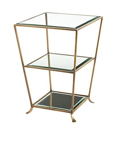 Arteriors Home Nick Side Table, Brass/Clear