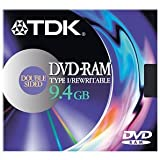 TDK DVD-RAM Disk Rewritable Double-sided in Open Caddy 9.4Gb Ref DVDRAM9.4DY1