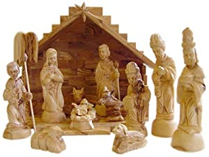 Deluxe Olive Wood Nativity Set- Hand Carved in Bethlehem, the Holy Land. Holy Land Imports