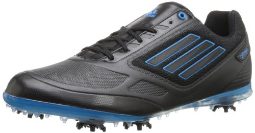 adidas Women's Adizero Tour II Spiked Golf Shoe,Black/Black/Solar Blue,7.5 M US