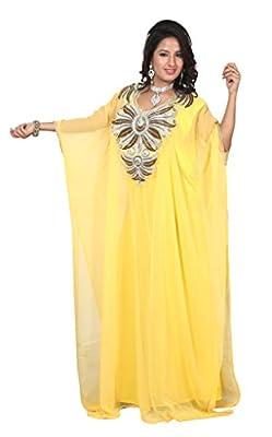 IndianAttire Women's Dubai Kaftan Caftan Farasha Abaya Jilbab Maxi Dress Yellow